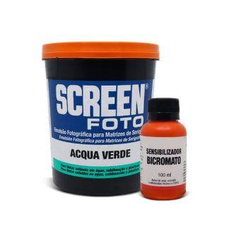Kit Emulsão Screen Foto Acqua Verde 900ml c/ Sensibilizador Bicromato 100ml - Agabê